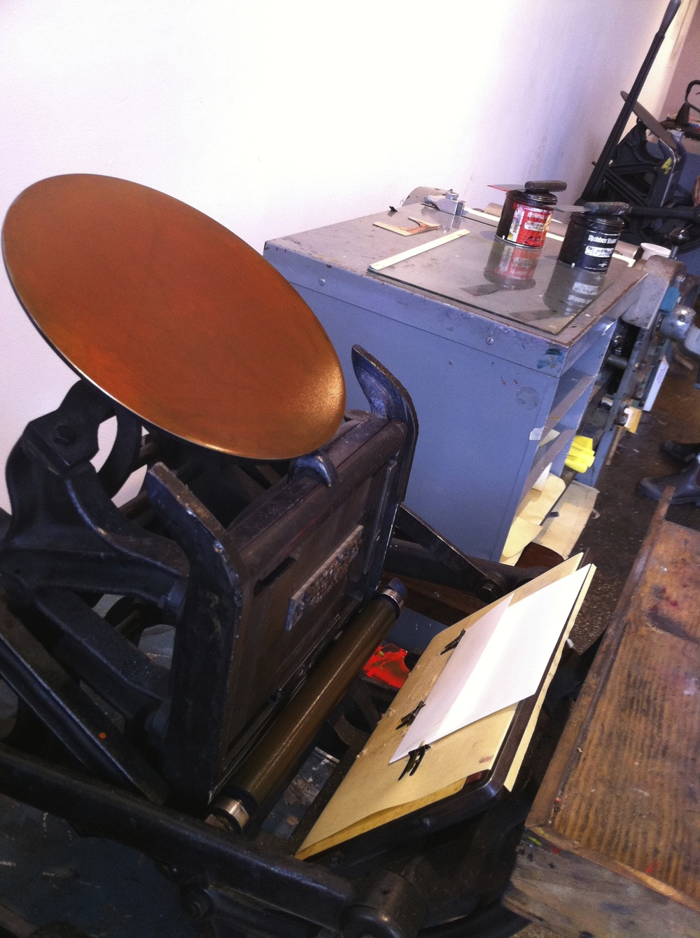 Here is the C&P Pilot platen letterpress at The Arm letterpress collective in Williamsburg on which we have printed our business cards, as well as one-off broadsides, mini coinsides and other projects.
