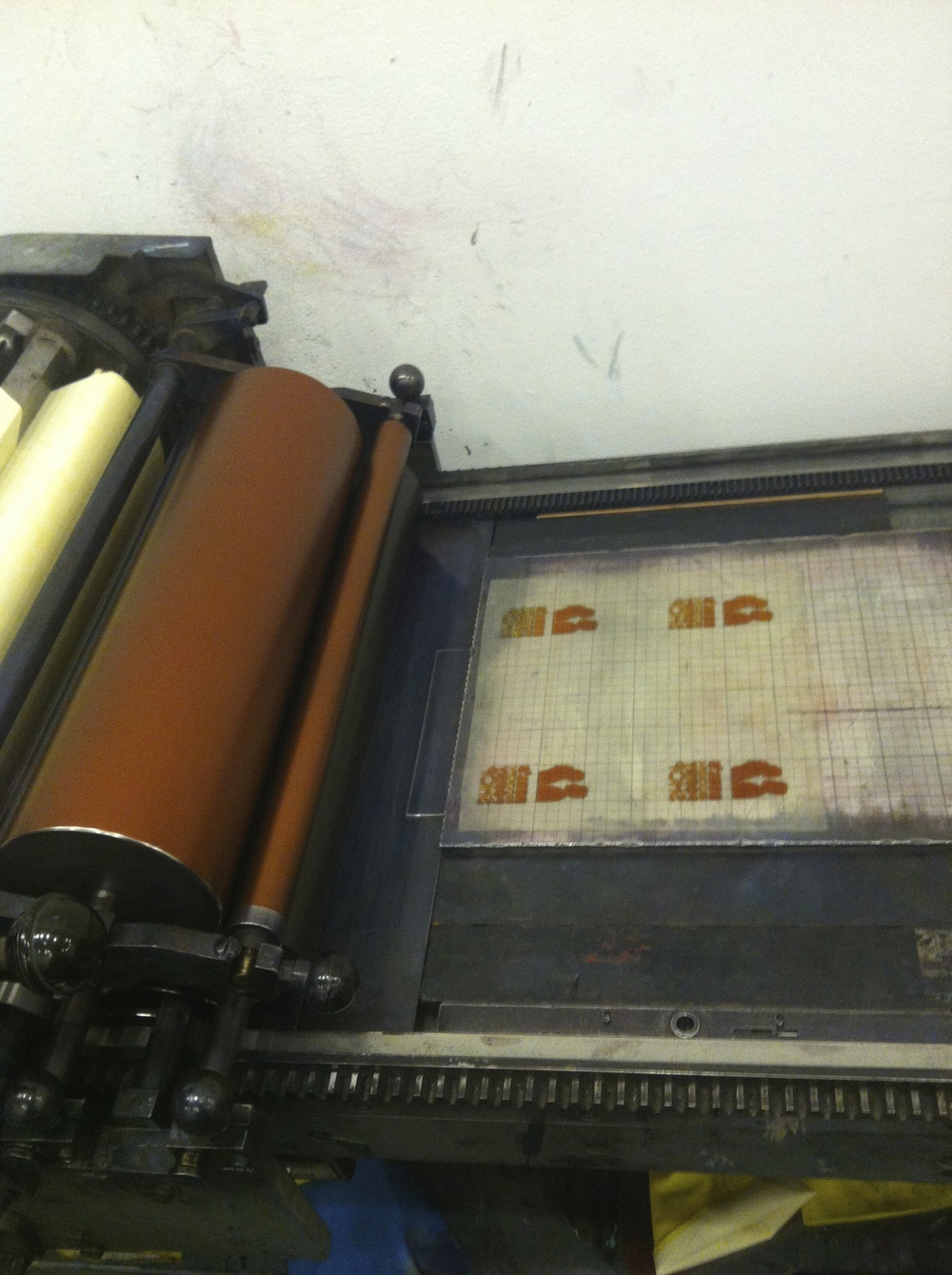 Printing our letterpresses business card booklet on a Vandercook press at the Arm cooperative studio in Williamsburg