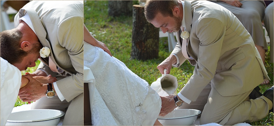 The two demonstrated truly a servant's heart during the foot washing ceremony.