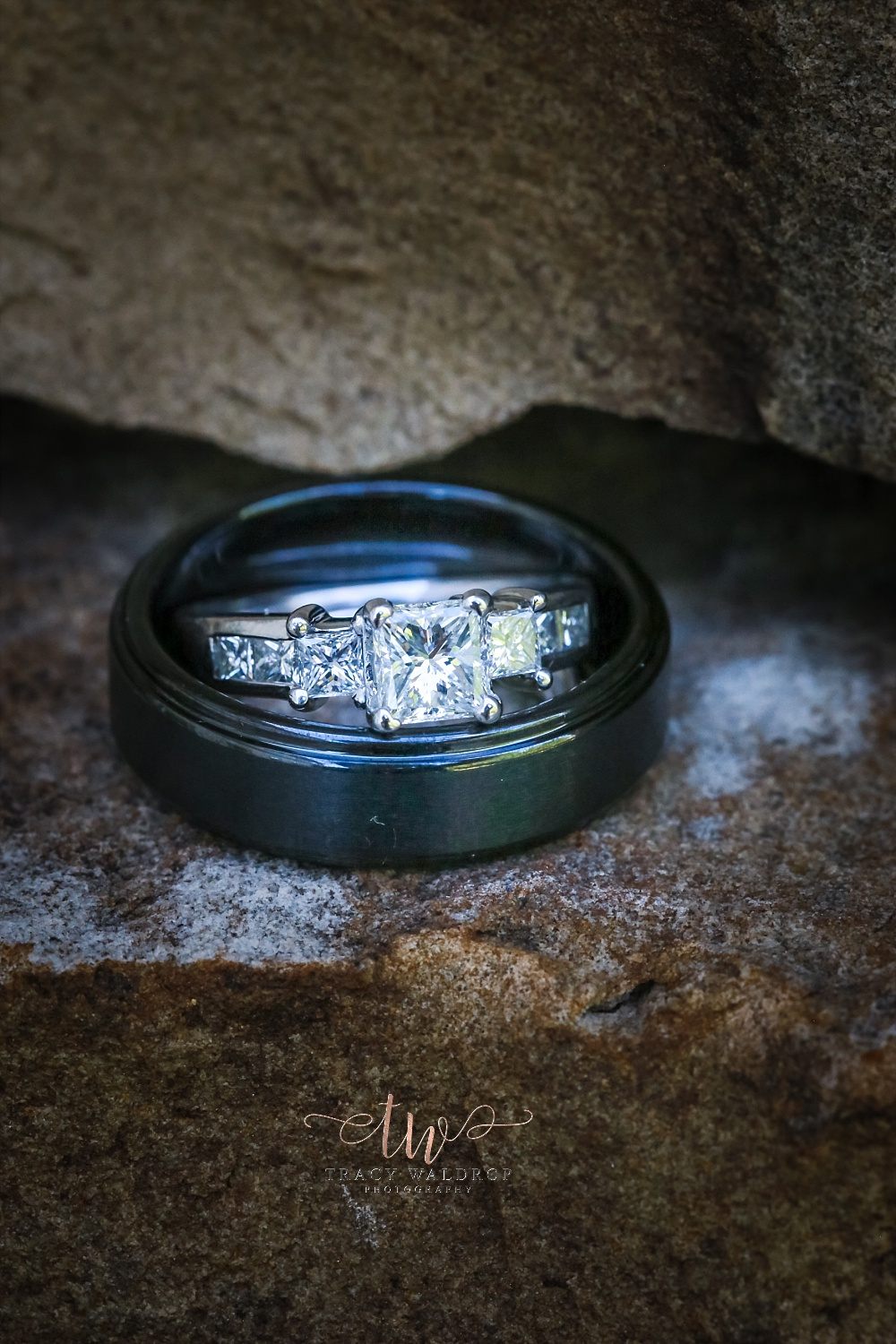 Wedding ring and band