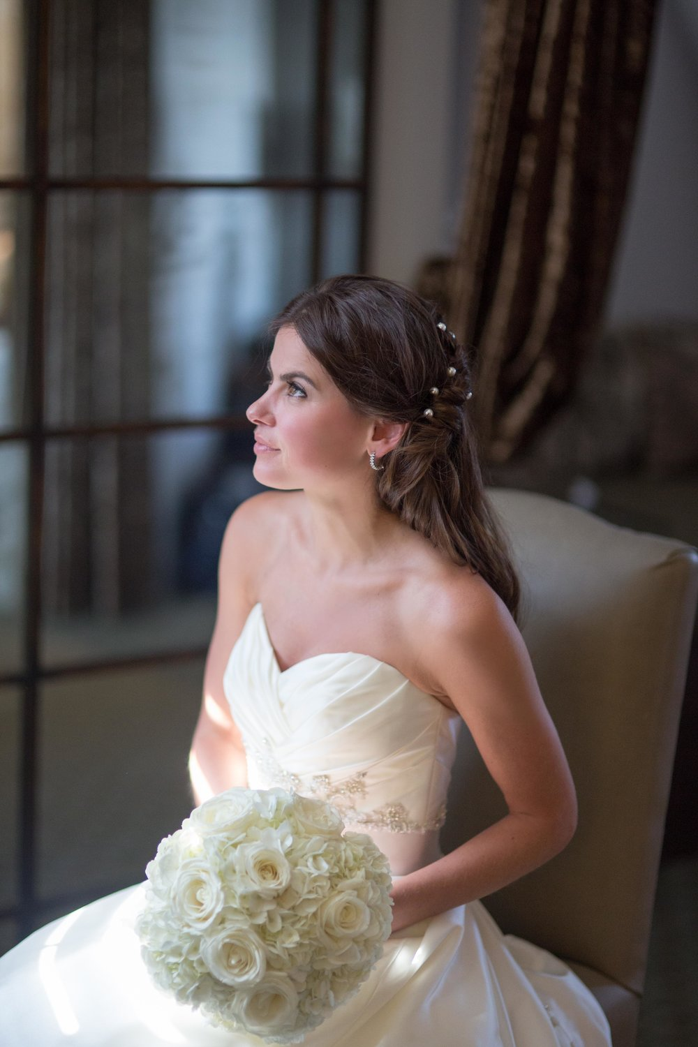 bride with window lighting