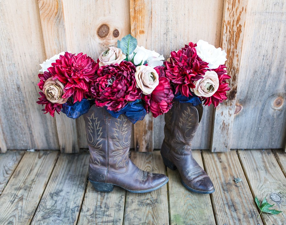 boots with flowers
