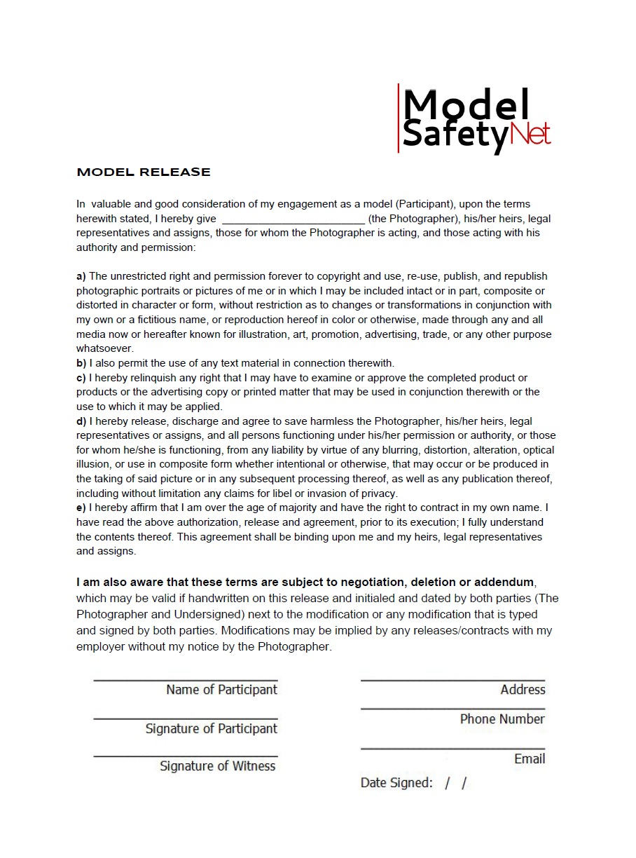 ... Model Safety Net U2013 Model Release Form In Pdf Photo ...