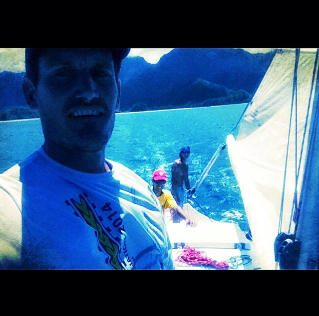 Island Sails Selfie: Jeremy, Kapule & Trevor set sail in the new boat for the winter season...