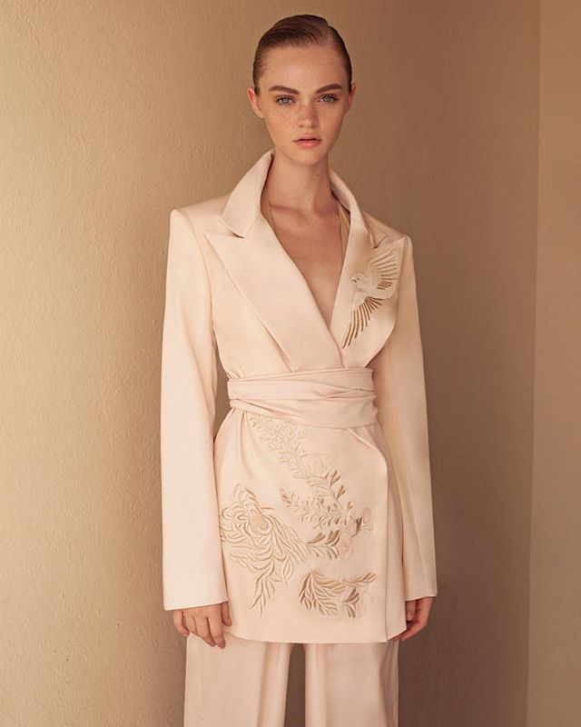 @gray.harris means business in @jaimemajorofficial embroidered soft suit 🕊 Photo: @thomkerr  Beauty: @amberdmakeup  Hair: @hairbyiggy using @love_amika  @freedommodelsla