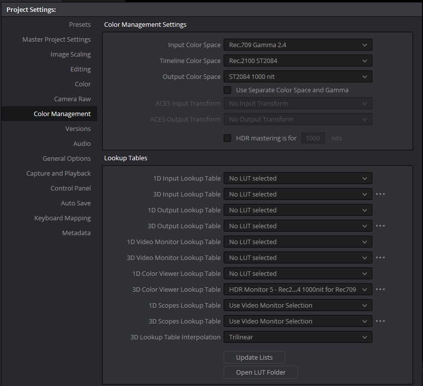 """Color Management"" tab can be found by going to ""File"" > ""Project Settings"""