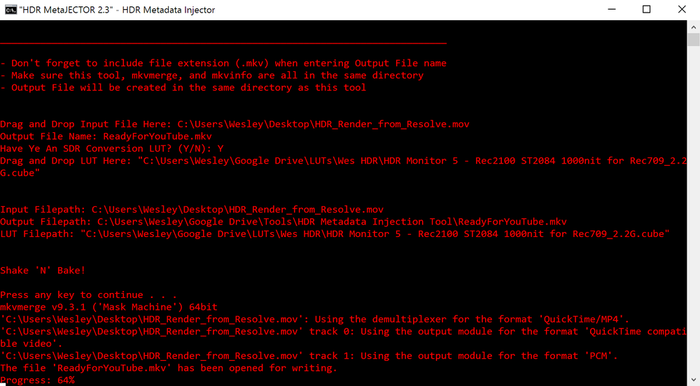 MetaJECTOR v2.3, Creating the .mkv File using mkvmerge.  Oh Wow, it's Red Now!