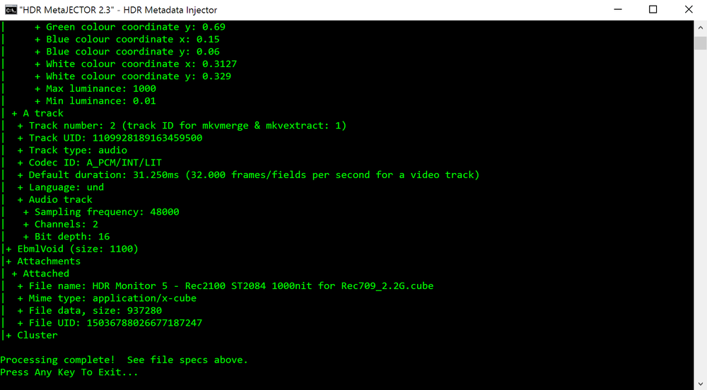 MetaJECTOR v2.3, Displaying the Output File's Metadata using mkvinfo.  Hoory, it's Green!