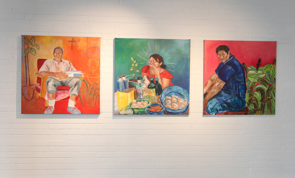 Paintings by Gabriella Sonabend. From left to right 'The Storyteller', 'Diego's Sister' and 'Esperando el Amor'.