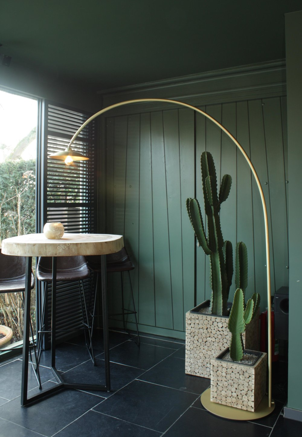 brass project floor lamp