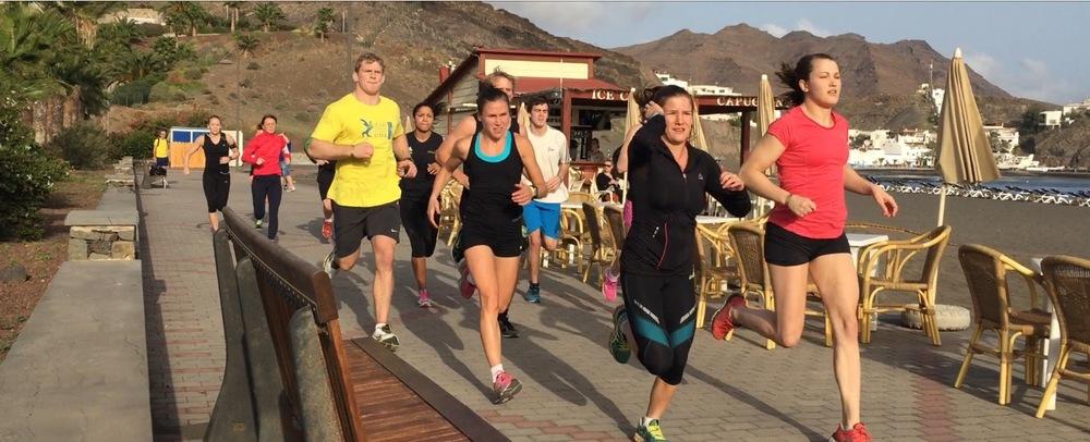 Lise under aerobisk träning på Playitas/Fuerteventura tillsammans med Brottning / Judolandslaget