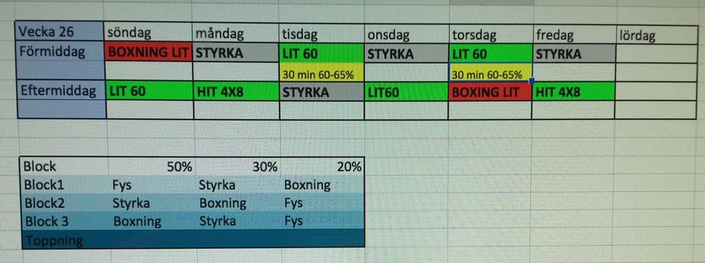 Typisk veckopussel för block 1 vecka , dvs att fys står i fokus i denna vecka. Lise tränar genomsnitt11-12 pass i veckan + 1-2 återhämtningspass.