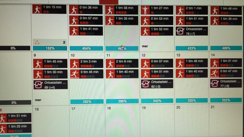 Det är helt normalt att Team Perkele ligger 8-12 pass i veckan . Här är typisk Teamets tränings planering.