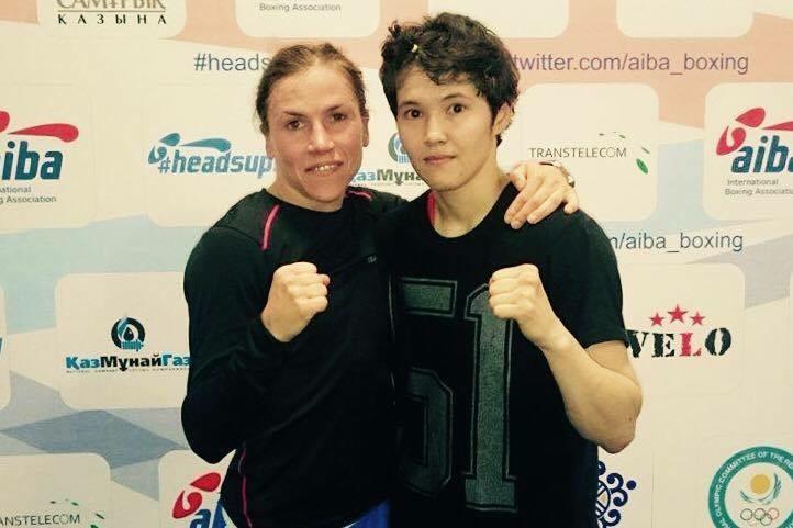 Lise och fortvarande Världsmästare Kazakken Nazym Kyzaubai.
