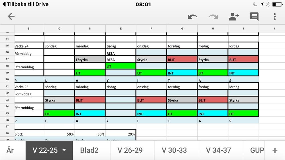 GrönLIT = Låg intessiv pass , Röd BLIT = Låg intessiv boxning pass , Turkos INT = Intervall ; Grå Styrka = Mellan styrka ( 70-80 %RM ) eller max styrka ( 80-95 %RM )