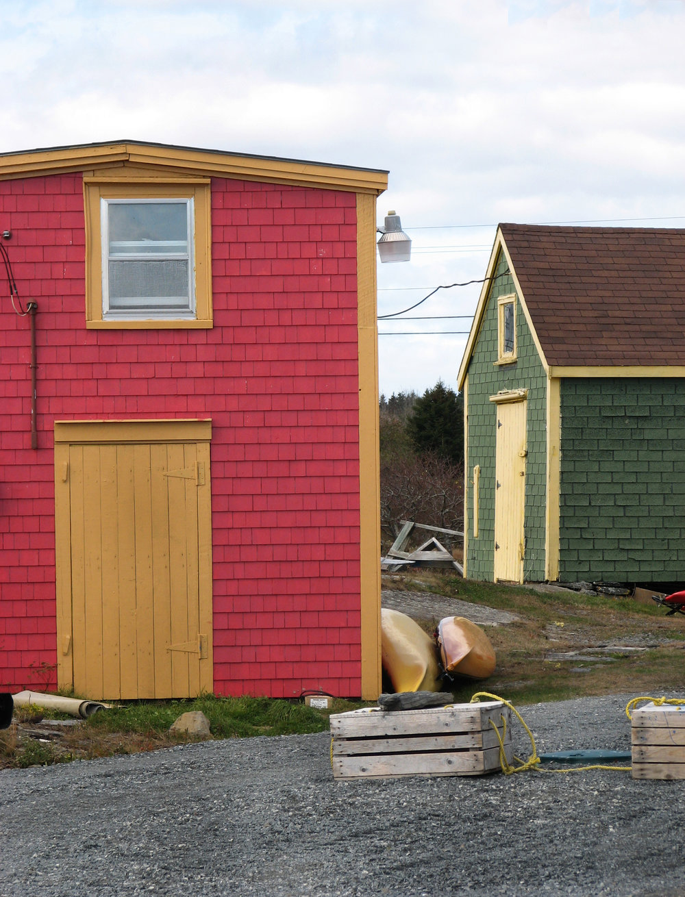 A view of buildings at Blue Rocks in Nova Scotia.
