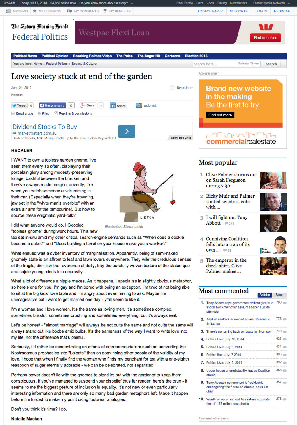 Click here to read my article in the SMH
