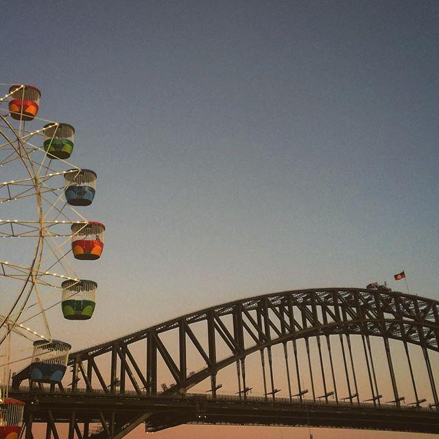 Ferris Bridge #harbourbridge #sydney #sunset #bridge #sydney #ferriswheel