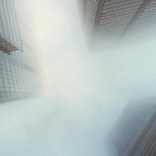 Misty Morning #mist #morning #city #up #lookup #clouds #sky