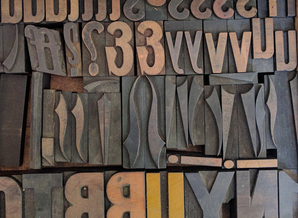 Wood type at Moiety Press; photo copyright Cherry Laurel Studio