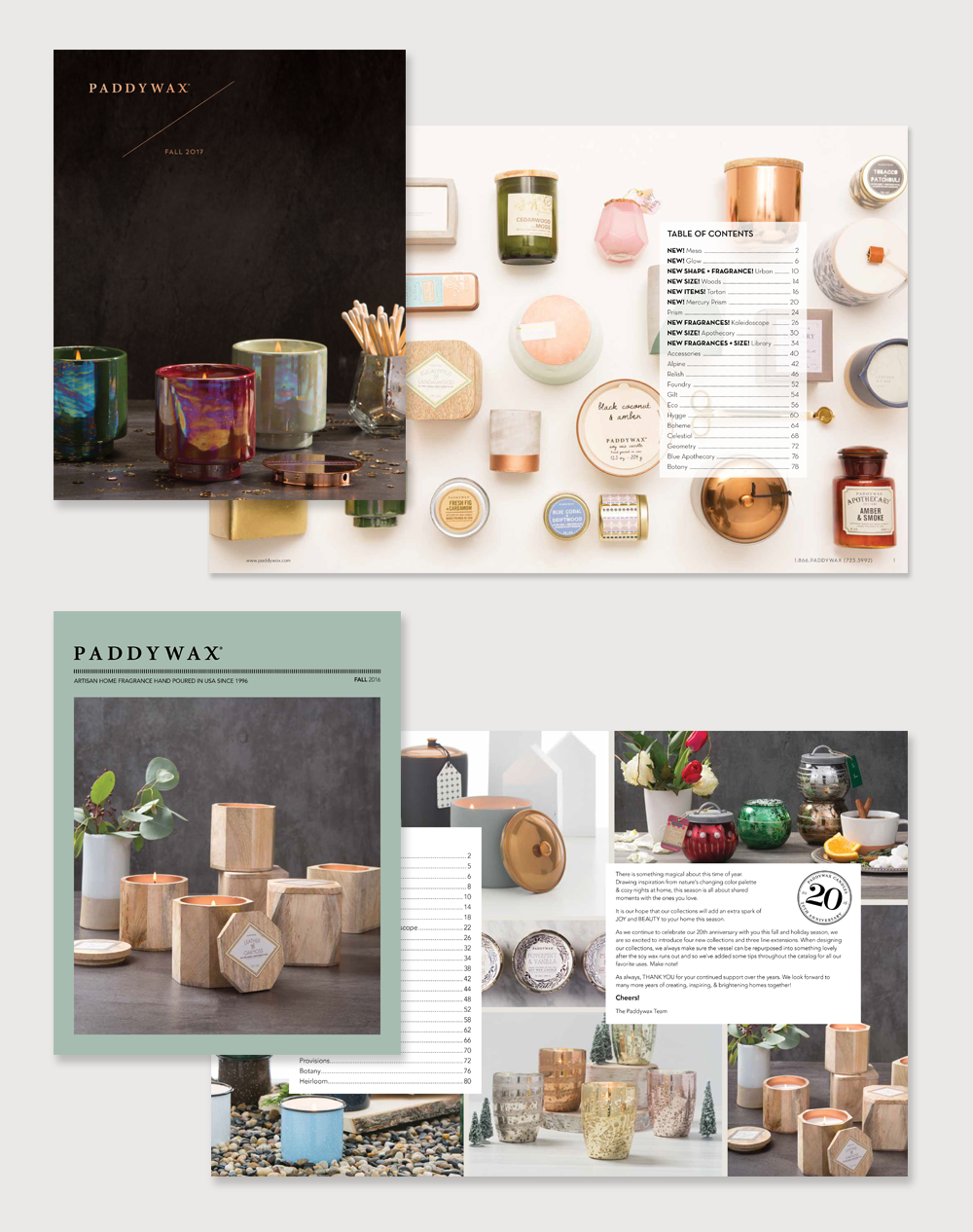 Catalog designs for Paddywax Candles