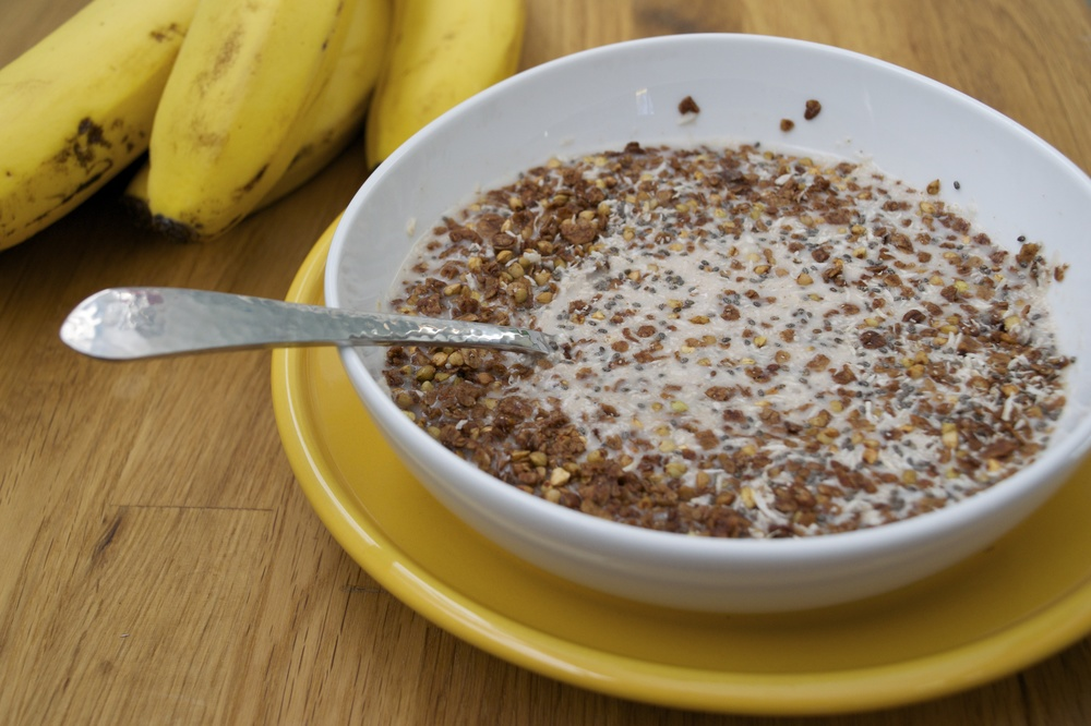 allergy free dark chocolate cereal, 'groatmeal'
