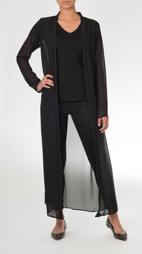 BLACK SHEER MAXI CARDIGAN — Louella