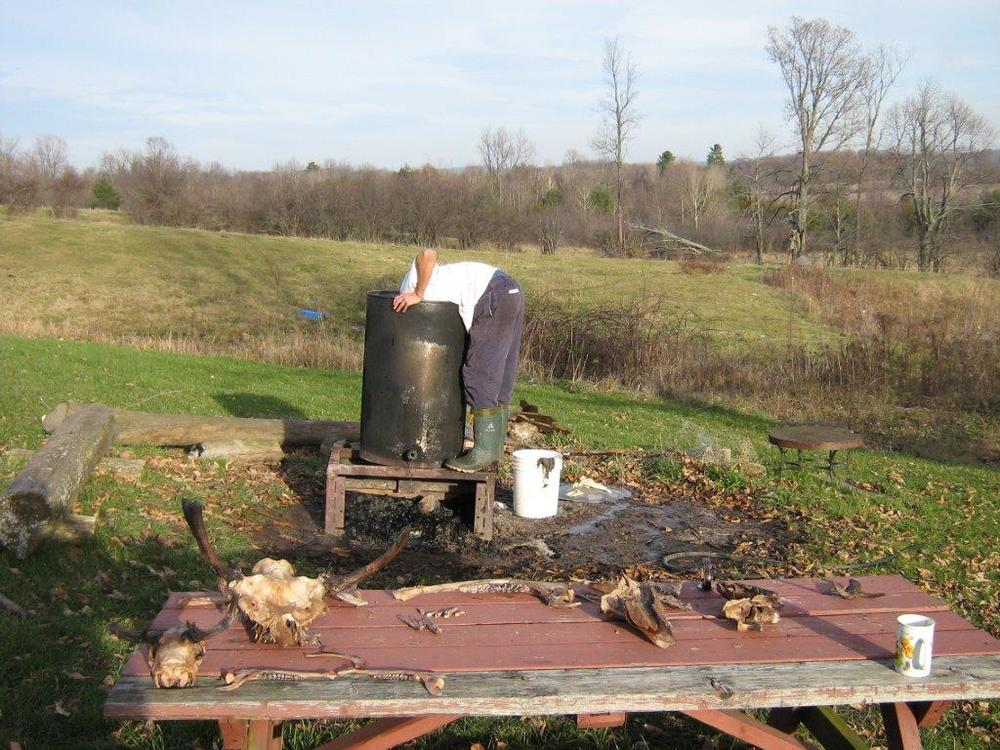 Myself scrounging through the bottom of a barrel, attempting to piece together a moose and deer skull. An old picnic table holding the only piecesfrom an example of an over boiling mishap.