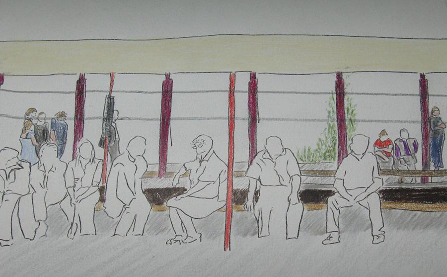 15:ס2cm  עפרונות ועפרונות צבעוניים על נייר  Pencils and colored pencils on paper