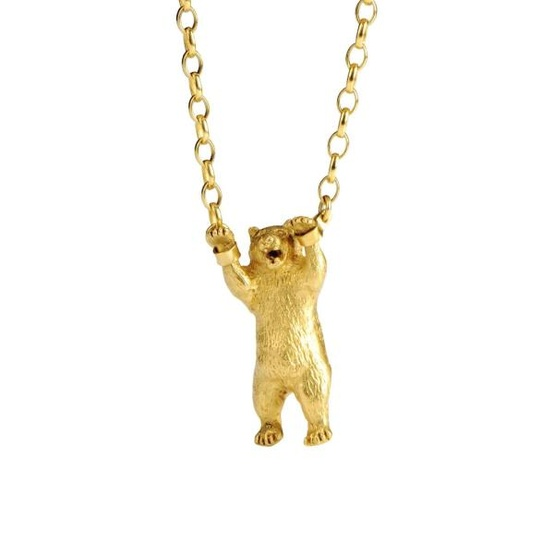 gold bear necklace by momocreatura