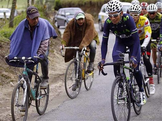 Nairo Quintana on a training ride this past weekend in Boyaca (Photo: El Tiempo)
