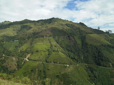 This is what a switchback looks like when the climb in question is 52 miles long. Photo from  Altimetrias de Colombia   .