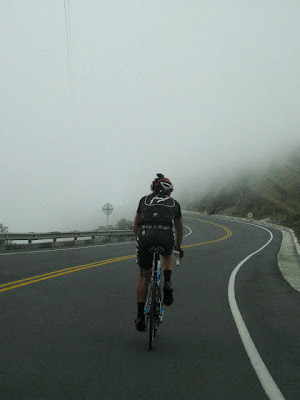 Duncan rides through the fog