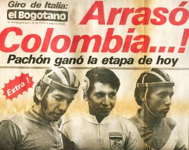 "Front page of El Bogotáno newspaper. Marín is pictured in the middle ( Alvaro Pachon to his right). The wording of the headline, intended to demonstrate the level of dominance that the young team led by managed in Italy, would prove to be prophetic. It states that the team led by Marín flattened or destroyed the competition. The word ""arrasó"", which means to obliterate or literally flatten, is usually reserved for descriptions in wartime scenarios where buildings are brought down by bombs, leaving a decimated terrain behind."