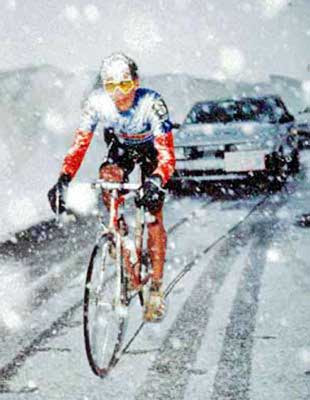 The iconic Gavia Pass picture from 1988. I was unable to ask Andy this question, but I have always wondered: what jersey is he wearing in this shot? Certainly not 7-Eleven. Was he leading a competition at that point in the race? The mountain classification jersey wasn't blue then. [If you've ever asked yourself this very question, look in the comments section, and you'll see that Andy's brother Steve has answered it]