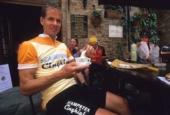 Andy today, leading cycling tours through Italy