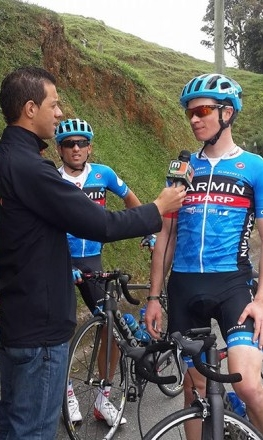 The Colombian press interviews Ben while training. (Photo: Ben King)