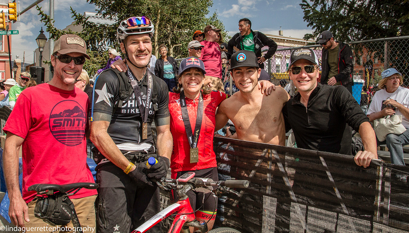 Tim Commerford—black jersey—after finishing Leadville 100. Dave Zabriskie is on the far right  (Photo: lindaguerrettephotography.com)