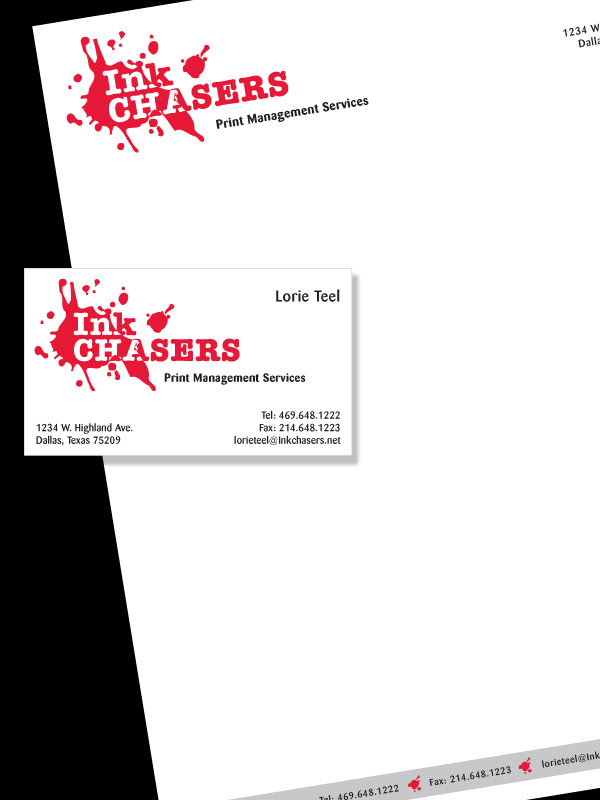Inkchasers 451 design graphic design illustration websites letterhead and business card design for inkchasers print management company see logo design for this client colourmoves