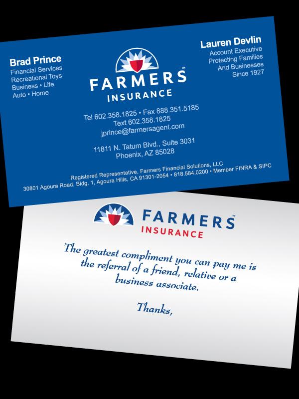 Farmers insurance 451 design graphic design illustration dual business card for brad prince amp lauren devlin farmers insurance colourmoves