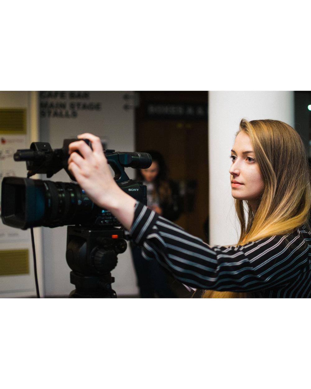 Louisa filming portrait