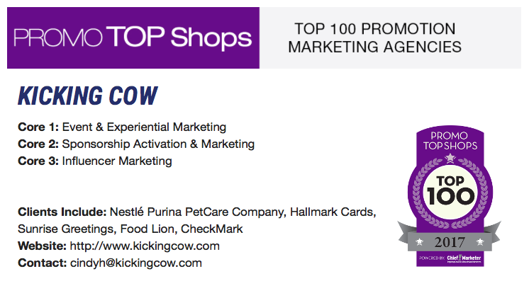 Kicking Cow is named a 2017 Promo Top Shop–joining the ranks of the Top 100 Promotional Marketing Agencies