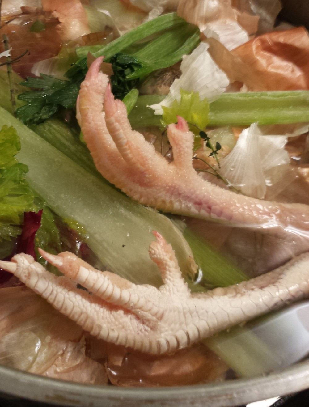 chicken feet in soup stock
