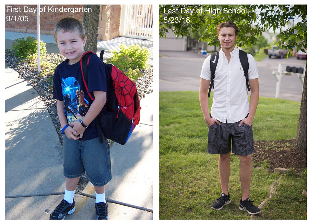 My son Joey's first day of kindergarten to his last first day of high school.