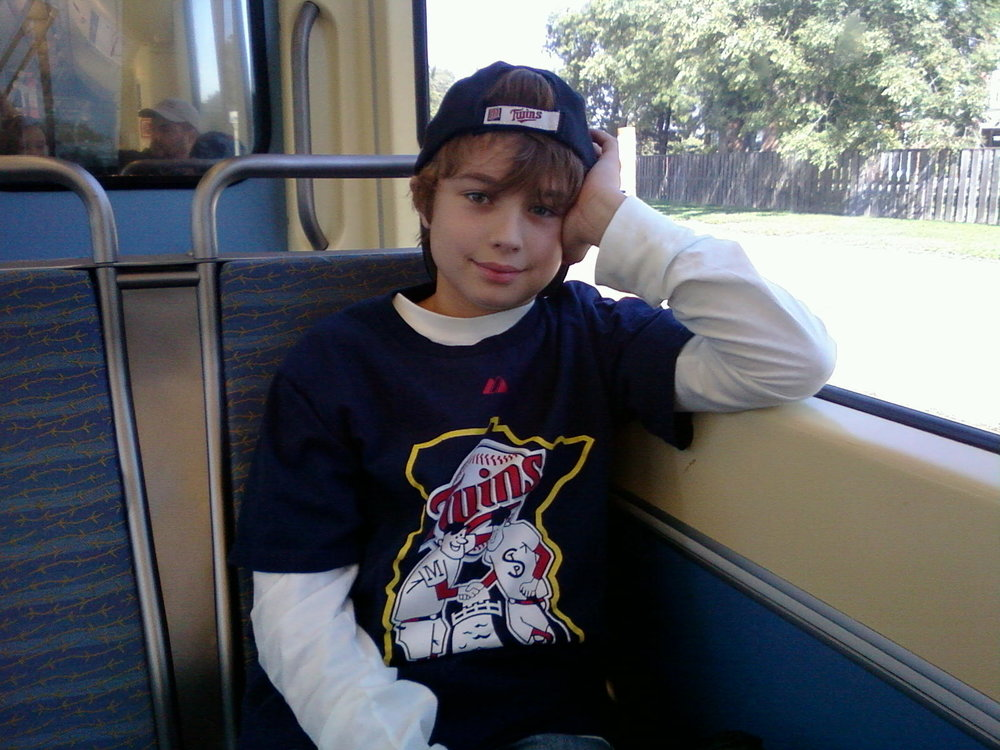 First (and last) trip on the light rail for the Twins Game for their inaugural season at Target Field in 2010. We've not been to a Twins game together since.