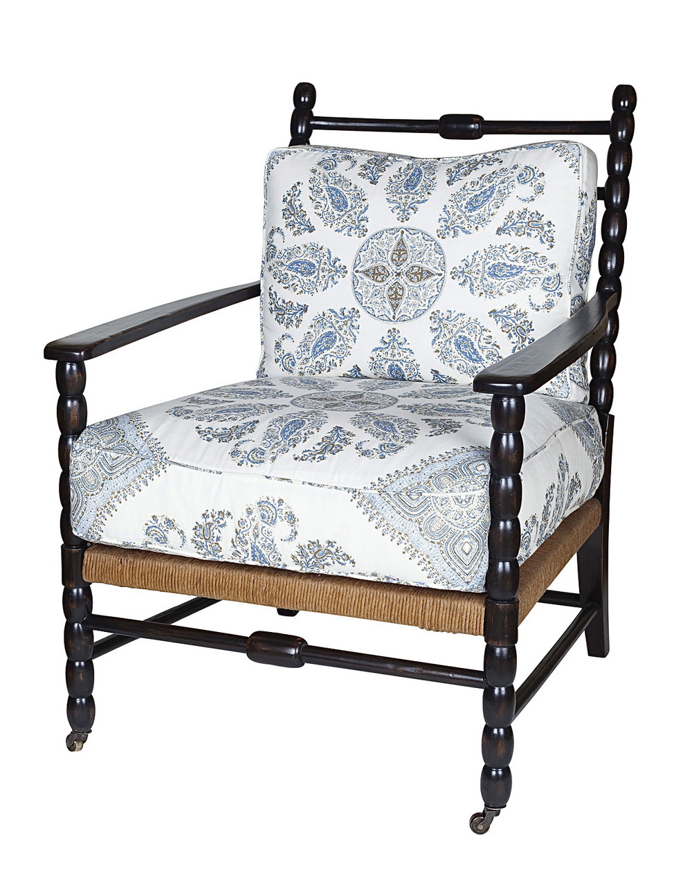 Nantucket chair with custom white and blue fabric