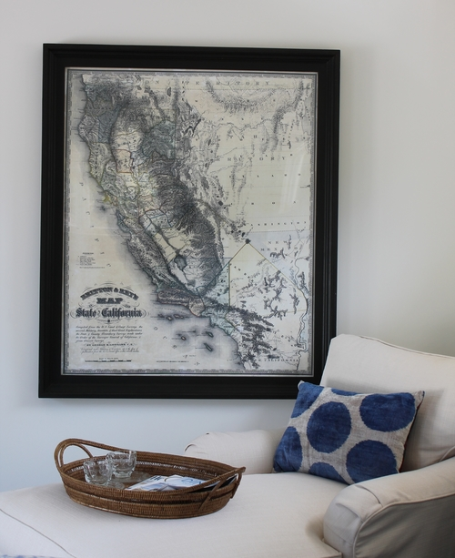 Black and white california map art