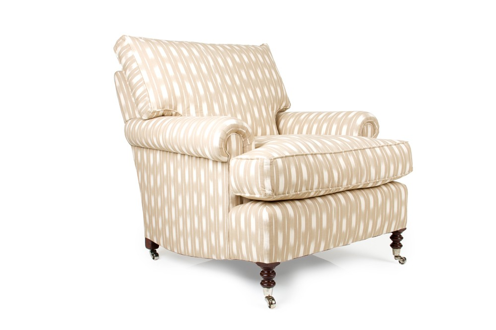 London Club chair in custom beige and white fabric
