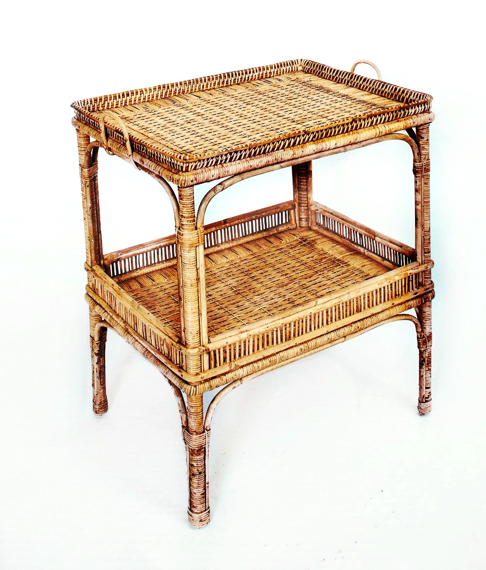 Custom Wicker Tea Cart Side Table