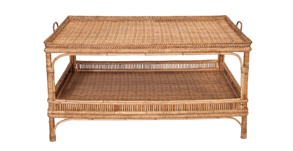 Custom Wicker Tea Cart Coffee Table